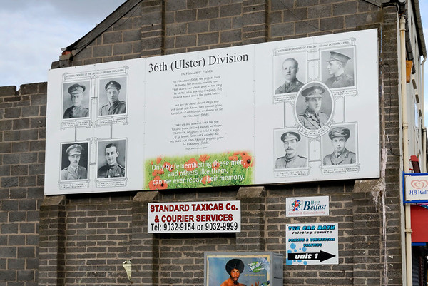 Mural, Shankill Road, Belfast, 7 May 2009 3.  The British Armyy's 36th (Ulster) Division was formed in the First World War from the pre-war loyalist paramilitary Ulster Volunteer Force.   Its members won nine Victoria Crosses for gallantry.