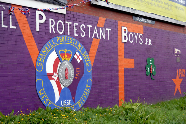 Mural, Shankill Road, Belfast, 7 May 2009.  The Shankill Protestant Boys are a flute band.
