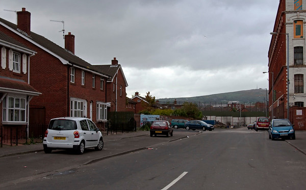 Conway Street, Belfast, 7 May 2009 1.  Looking north 100 yards to the peace line and the Shankill immediately beyond.