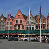 Pretty buildings in the main square in Bruge.