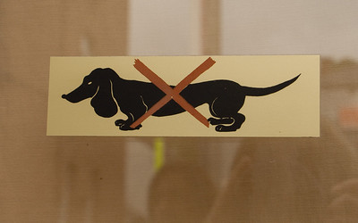 Dinant. Absolutely no dachshunds are allowed into this chocolate shop.