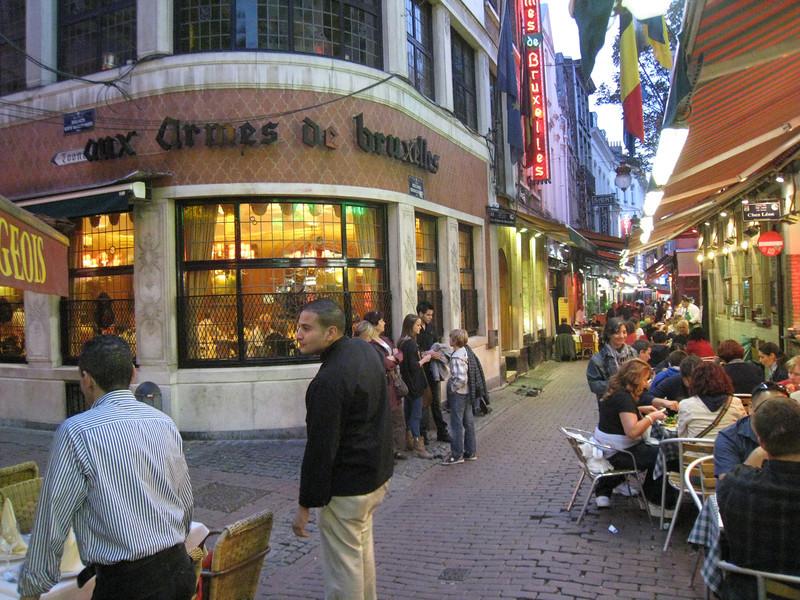 Brussels - Aux Armes de Bruxelles restaurant where my tour group enjoyed a fine dinner one evening.