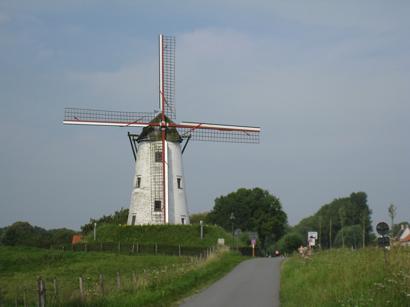 Bruges - this Windmill is located along the bicycle path on the way to Damme. which is 6 kM northeast of Bruges.