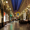 Brussels - an evening view of the interior of the Galeries Royales Saint-Hubert.