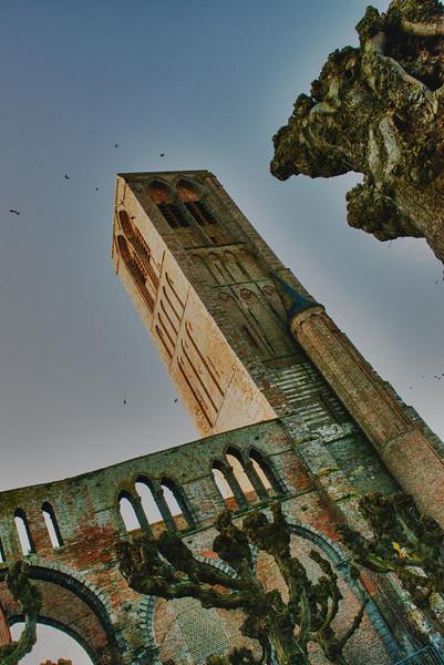 The tower of the Our Lady church (13th century) of Damme - West Flanders - Belgium <br /> <br /> Torre de la iglesia Nuestra Señora (siglo XIII) en el pueblito de Damme - Flandes Occidental - Bélgica<br /> <br /> Turm von Unserer Lieben Frau Kirche - Westflandern - Belgien<br /> <br /> Clocher de l'église de Notre Dame (XIII siècle) de Damme - Flandre Occidentale - Belgique<br /> <br /> Onze-Lieve-Vrouw kerktoren (XIII eeuw) in het dorpje Damme - West-Vlaanderen - België