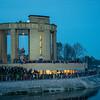 De namen van de 600.000 slachtoffers van wereldoorlog I die in België vielen worden geprojecteerd op het Albert I monument