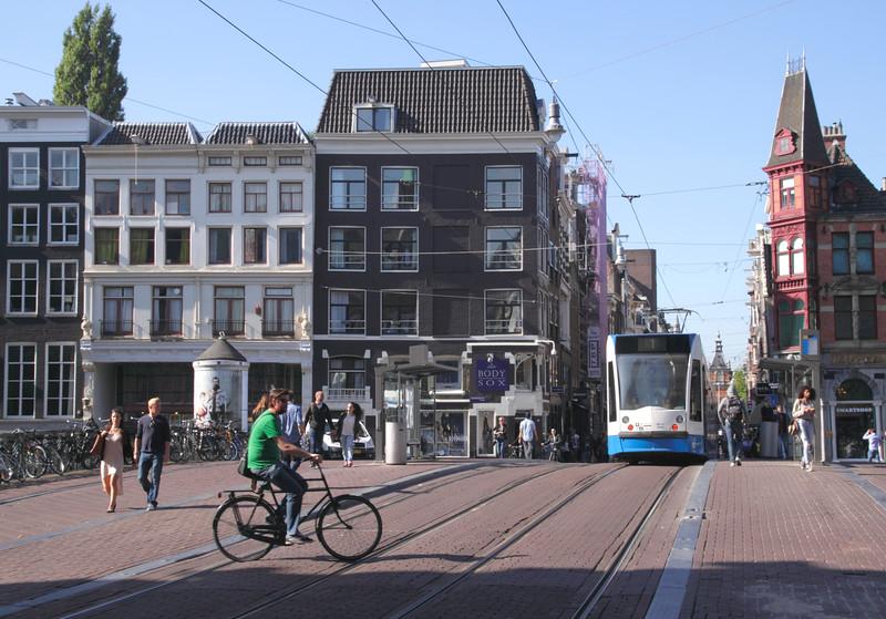 Tram crossing bridge at Leidsestraat Amsterdam Holland