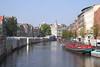 Singel Canal and Bloemenmarkt floating flower market Amsterdam