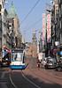Tram in Reguliersbreestr street near Rembrandt Square Amsterdam