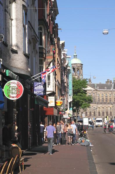 View along Damstraat towards Dam Square Amsterdam
