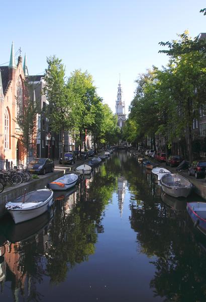 Groenburgwal Canal towards spire of Zuiderkerk church Amsterdam