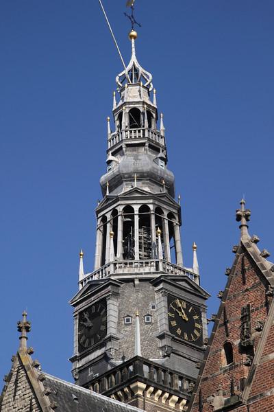 Bell Tower spire of Oude Kerk Church Amsterdam Holland