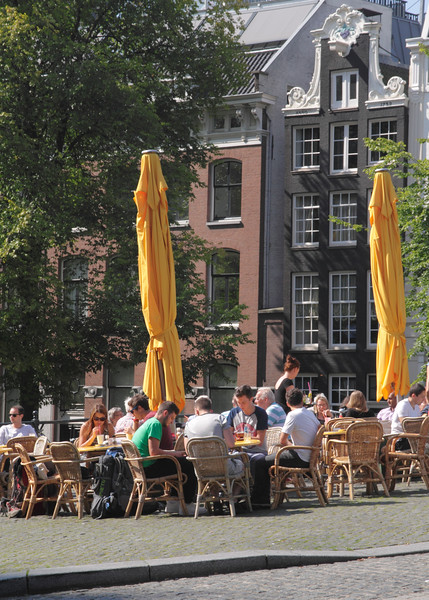 Cafe on Torensluis Bridge over Singel Canal Amsterdam