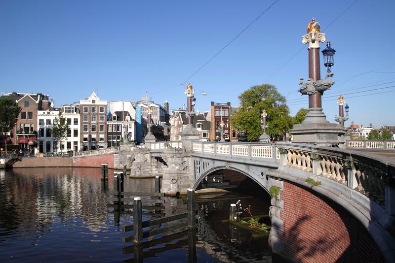 Blauwbrug Bridge over the Amstel River Amsterdam Holland