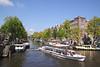 Tourist Cruiser boat Brouwersgracht Canal Amsterdam Holland