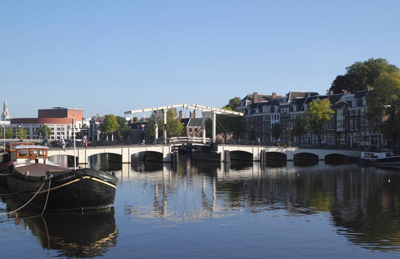 Magere Brug drawbridge over the River Amstel Amsterdam