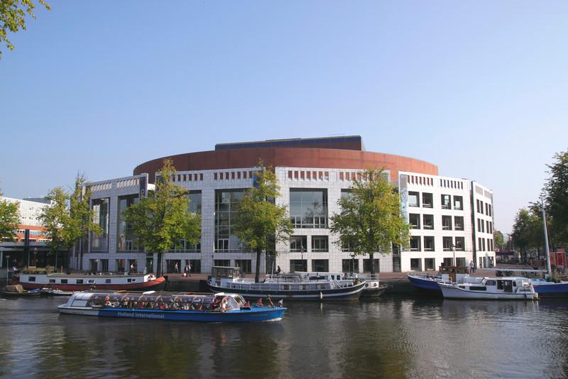Stadhuis Muziektheatre opera house by Amstel River Amsterdam