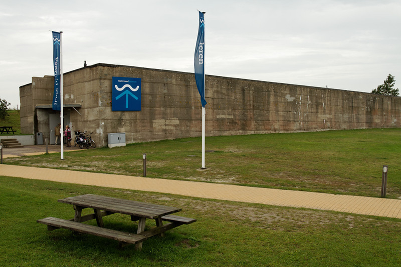 Watersnoodmuseum.  An exterior view of one of the Caissons and the entrance.