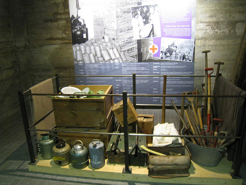 Watersnoodmuseum.  This display shows some of the articles that would have been used to provide aid to the victims of the flood.