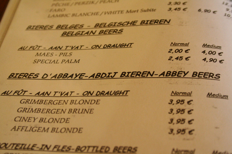 One of many extensive beer menus