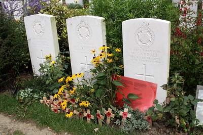 The gravestone of Rifleman Valentine Strudwick  (8th Bn Rifle Brigade) who died on 14th July 1916, aged 15 years.  He was one of the youngest casualties of the war, and his grave is often visited by school parties (who leave crosses and poppies).