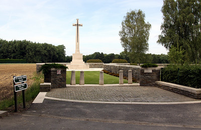 Polygon Wood Cemetery (behind the wall to the right) and the Cross of Sacrifice.