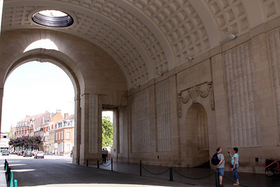 The inside of Menen Gate, with the names of the fallen soldiers with no known grave inscribed on the walls.