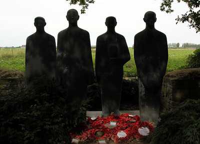 Langemarck German Cemetery- Sculpture of four mourning figures by the Munich sculptor Professor Emil Krieger.