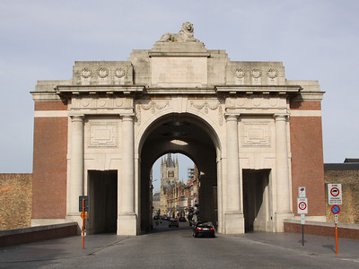 The Menen Gate looking back into Ypres.
