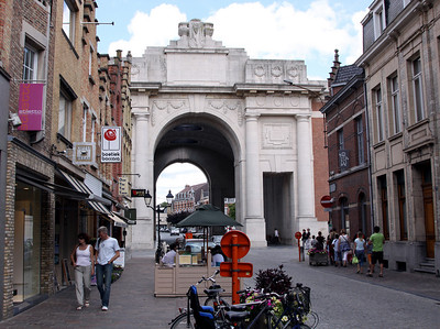 Menen Gate at the end of Meensestraat. (Over The Top Tours bookshop is on the left).