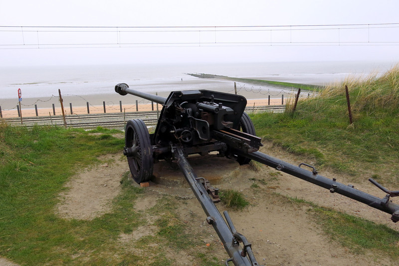 coastal defense guns facing the North Sea