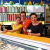 Da Vinci ice cream parlor staff. Best sweets in Brugge