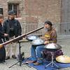 Steel drummer in the belfry courtyard. Brugge.