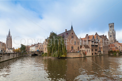 Canal intersection-Bruges Belgium