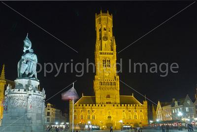 Main Sqiare in Bruges at night