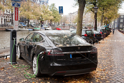 Tesla fillup by the canal