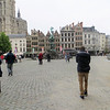 This is the Grote Markt, the main square of Antwerp.  It's anchored by the cathedral and by the City Hall, or Stadhuis.