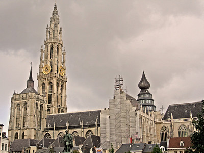 Onze-Lieve-Vrouwekathedraal, or the Cathedral of Our Lady, Antwerp, was started in 1351 and, although the first stage of construction was ended in 1521, has never been 'completed'. The day we were there, part of it was covered for cleaning maintenance.
