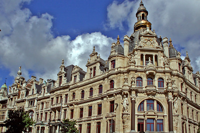 Another view of the beautiful architecture on corner of Leysstreet, Antwerpen
