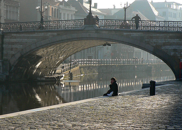 Man on St Michael's Bridge.