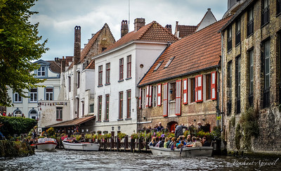 One of the boating piers at Nieuwstraat, Bruges