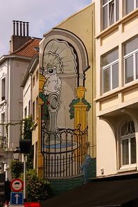 Mural about Manneken Pis