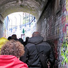 We spent the morning in Ghent doing a guided walking tour.  It was a cold, rainy day, unfortunately.  Our guide started the tour by taking us down this narrow street (really an alley) which the city had designated as a place where graffiti artists could have free rein to paint .  I think the hope was that  the rest of the central city area would then remain graffiti-free.