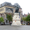 This statue on Friday Market Square is of Jakob van Artevelde, who saved Ghent from an economic crisis in the 14th century.  Due to conflicts between England and France (which controlled Ghent at the time), the English king refused to export wool to Ghent.  Van Artevelde, though only a commoner, negotiated directly with the king to keep Ghent neutral and maintain the wool supply.  He was a forgotten figure until the Flemish nationalism movements of the late 19th and early 20th centuries resurrected his memory.  The building behind the statue is Ons Huis (House of the People).  It is the headquarters for the region's socialist movement.  Ghent has a history of being a hotbed of leftist politics.