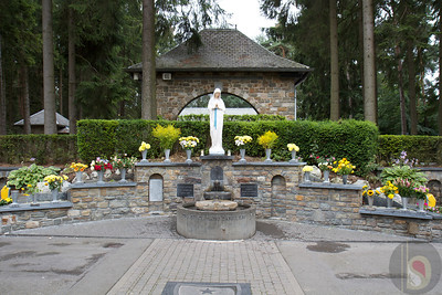 Statue of the Virgin of the Poor and healing spring at Banneux: Belgium