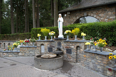 Statue of the Virgin of the Poor and healing spring at Banneux : Belgium