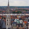 Europe, Belgium, Ghent.  From the top of the belfry, a view of Ghent's medieval architecture