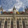 Detail of Bruges' ornate town hall. Bruges, Belgium
