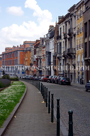 A curving street in the EU Quarter, Brussels, Belgium
