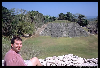 Relaxing at the base of the pyramid
